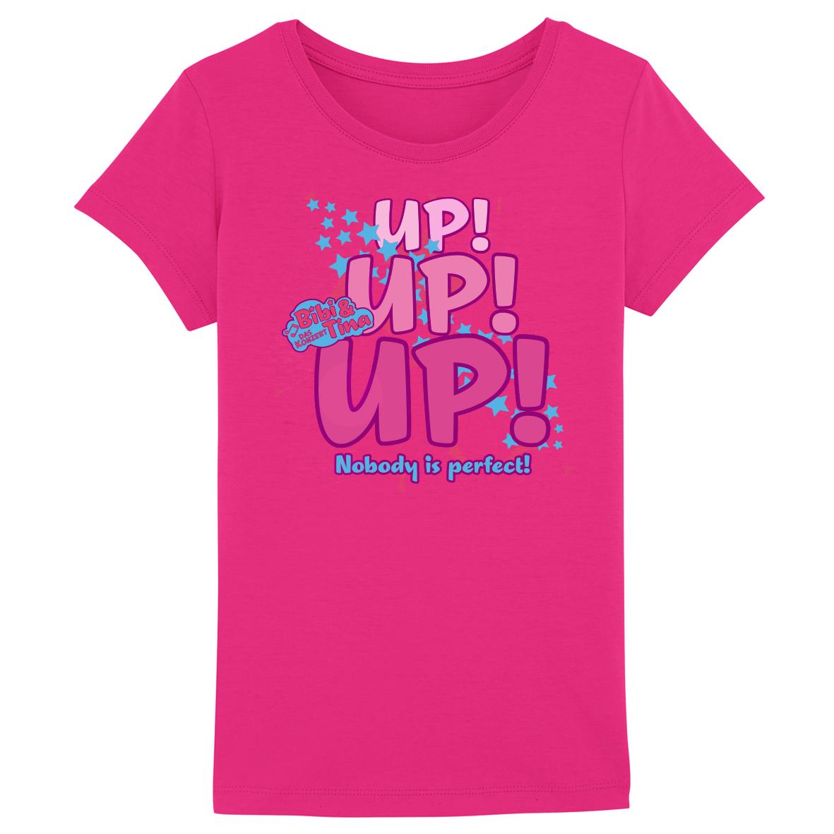 Bibi&Tina UP! UP! UP! Nobody is Perfect! Kids T-Shirt, rosa