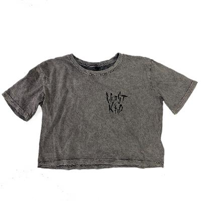 GHOSTKID Ghøstkid - Logo Crop T - black print Girlie acid washed dark grey