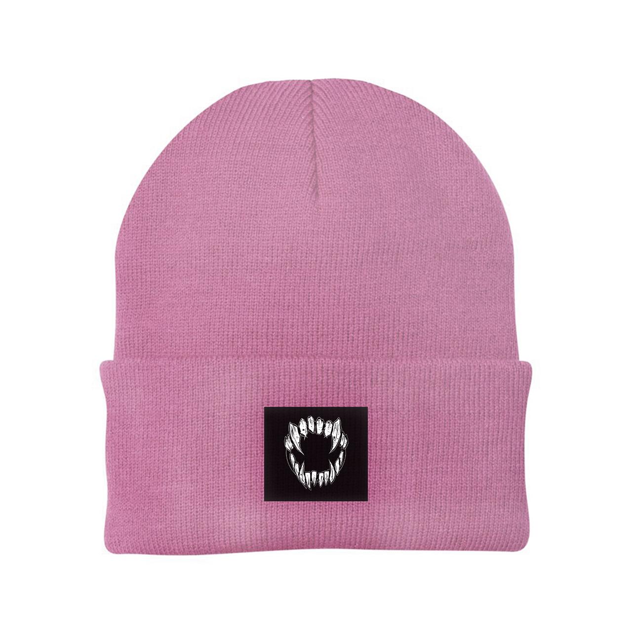 GHOSTKID Ghøstkid - Vampire Teeth Patch Beanie Beanie, dusty pink