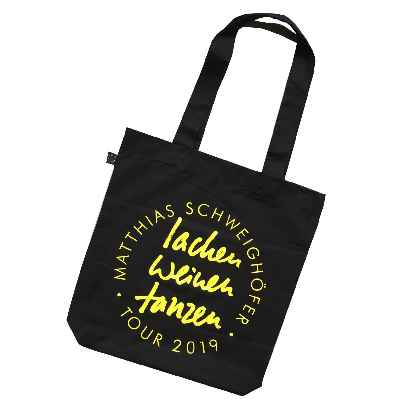 Schweighöfer Lachen Weinen Tanzen, Beutel Bag, Schwarz, gelber Schriftzug
