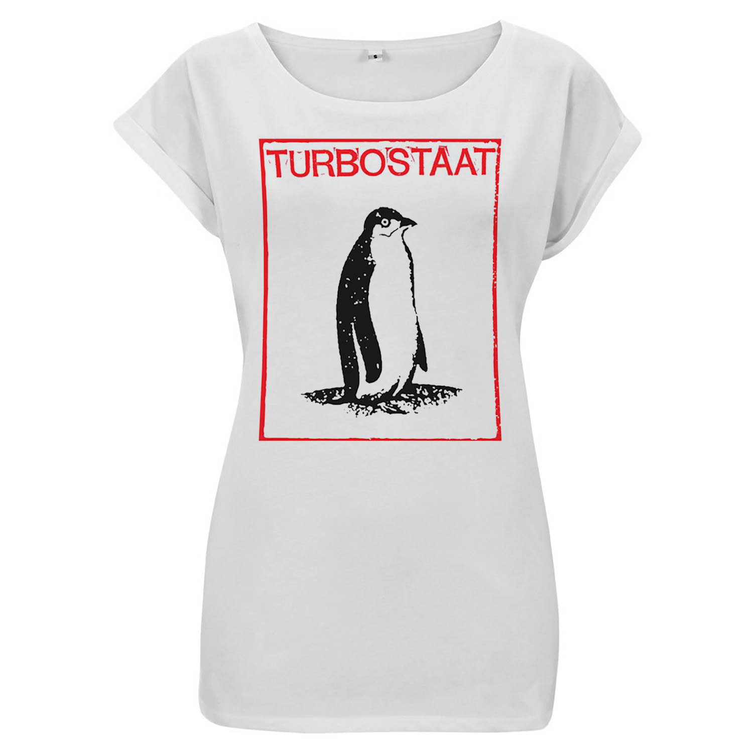 Turbostaat Pinguin Frauen Girlie, weiß