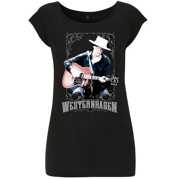 Westernhagen Foto T-Shirt Damen Girlie, schwarz