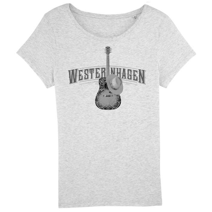 Westernhagen T-Shirt Gitarre Damen Girlie, grau meliert