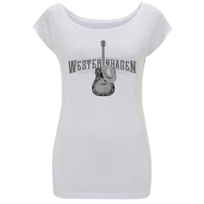Westernhagen T-Shirt Gitarre Damen Girlie, weiß