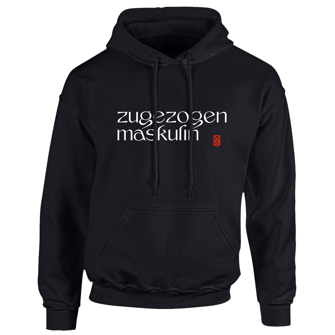 Zugezogen Maskulin ZM Logo Neu Hoodie, Black